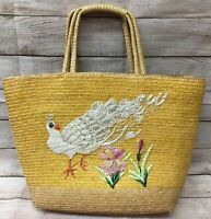 Vintage Lg MCM Woven Rattan Straw Bucket Tote Handbag Boho Purse Peacock Flowers