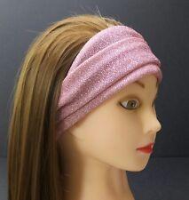 Pink Glitter Headband Wide Thin Crinkled Metallic Shiny Boho Stretchy Kerchief