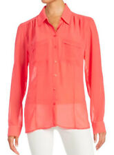 GUESS Charlotte Women's NWT Sheer Coral Top Shirt Blouse M RRP $90