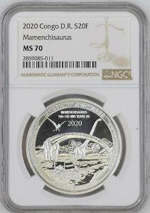 2020 DEMOCRATIC REPUBLIC CONGO 20F - MAMENCHISAURUS - SILVER COIN - NGC MS70