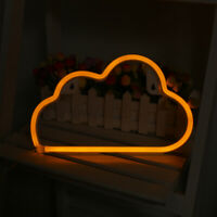 LED Neon Sign Night Light Cloud Wall Lamp Bedroom Store Artwork Decor WARM
