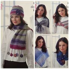 CROCHET PATTERN Ladies Wraps Neck Warmer Poncho Hat and Scarf DK King Cole 5072
