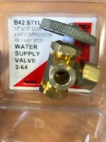 "SOLID BRASS! Dual Angle Stop Valve 1/2"" x 1/2"" Comp. x 3/8"" Comp. 3 Way"