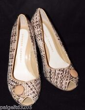Chinese Laundry Fabric w/ Beige Button Stiletto High Heel Peep Toe Shoes Sz 7M