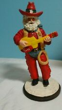 "NEW IN BOX GUITAR PLAYING COWBOY SANTA 7"" FIGURINE MADE IN CHINA COLD CAST RESIN"