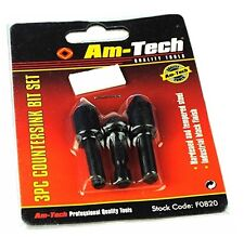 Set of 3 Countersink Counter Sink Drills 12mm, 16mm, 19mm, Wood, Plastic. W3373