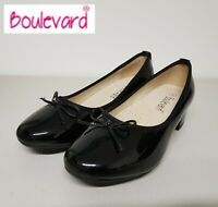 SALE  Ladies Black Patent Wide Fit Block Heeled Slip On Bow Court Shoes - Size 5