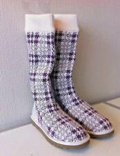 UGG AUSTRALIA  Jester Plaid Knit Boot Burgundy Mid-Calf Pull On Size 5.5 UK