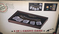 2 In 1 Casino Game Black Jack & Roulette Table Santa Approved New Wood Box