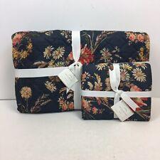 Pottery Barn Lara Reversible Quilt Full/Queen & Sham Standard Blue Flora Print