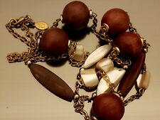 Cookie Lee Genuine Abalone Mother of Pearl and Wooden Bead LONG Necklace Gold