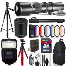 500mm/1000mm Graduated Lens for 6D Mark II - Video Kit + Flash - 64GB Bundle