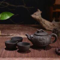 Teapot Purple Clay Tea Set Handmade Dragon Elephant Squirrel Tea Pot 3 Pcs Cups