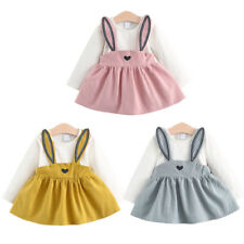 Toddler Kids Baby Girl Outfit Clothes Bunny Ear Spring Autumn T-shirt Dress AU