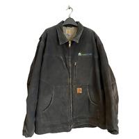 Vintage Carhartt Black Heavy Duty Fleece Work Wear USA Canvas Men's Jacket Coat