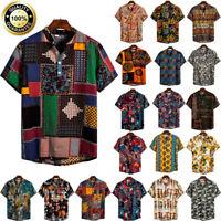 Men's Ethnic Short Sleeve Tee Cotton Linen T-Shirt Hawaiian Blouse Baggy Top Tee