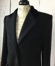 PERRY ELLIS Womens Sz 8 Long Coat Black Wool Single Vent & Single Breasted Lined