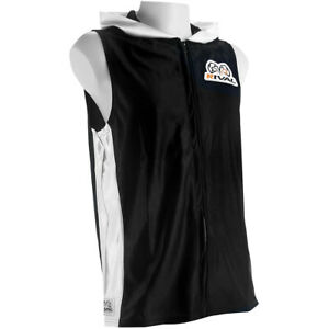 Rival Boxing Dazzle Traditional Sleeveless Ring Jacket with Hood - Black/White