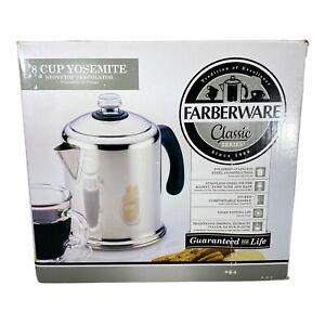 Farberware Yosemite Stainless Steel Coffee Percolator 8 Cup Brand New Open Box