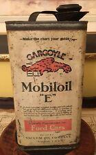"VINTAGE MOBILOIL ""E"" GARGOYLE CAN FOR FORDS 1 GALLON"