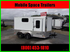 2020 Covered Wagon Trailers 7X12 White Motorcycle PKG W/ Windows New