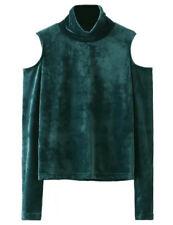 US Women Velvet Turtleneck Long Sleeve Plain Pullover Jumper T-Shirt Tops Blouse