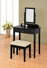 Black Finish Contemporary Bedroom Vanity Set with Stool