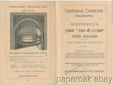 Whitwells Fire Grates Brochure 1876 Centennial Exhibition Philadelphia