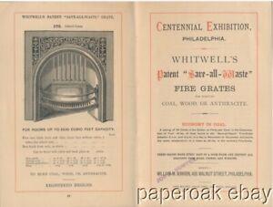 Whitwells Fire Grates Brochure 1876 Centennial Exhibition Philadelphia