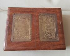 Vintage Wooden Playing Card Storage Box with Brass King & Queen Inlay
