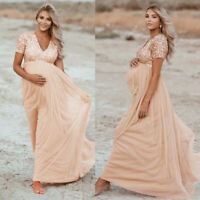 Womens Pregnants Maternity Photography Props Short Sleeve Sequined Long Dress