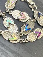 "Vintage Ladies Silver Tone Abalone shell flip-flop Beach  Lover Bracelet  7.5"""