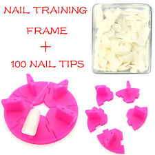 Nail Art Removable Training Frame  + 100PCS False Tips Practice Tool HOTPINK