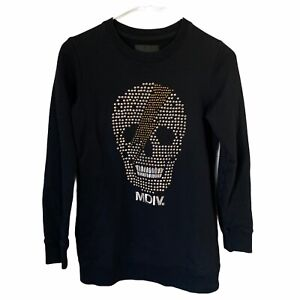 MUSIUM DIV Women's Black Studded Embroidered Skull Sweatshirt Pockets XS