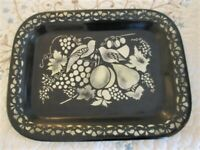 Antique Hand Painted & Stenciled Folk Art Birds Fruit Black Tole Decorated Tray