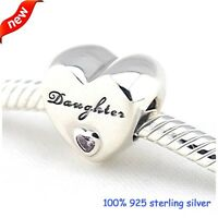 925 Silver Sterling mom Daughter Heart clear Stone Charm Fits European bracelet