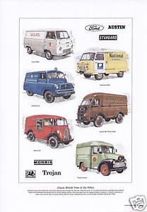 BRITISH VANS OF THE 50s Art Print - Bedford Trojan Ford Standard Austin & Morris