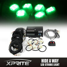 120W 6 LED Green Bulbs Hide-A-Way Emergency Hazard Warning Flash Strobe Lights