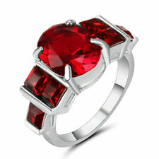 Size 8 White Gold Plated  Ruby Stone Ring Wedding Cluster Cocktail Anniversary