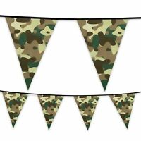 6m Plastic Bunting Camouflage Army Military Banner Garland Party Decoration