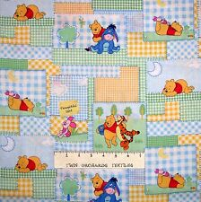 Nursery Baby Fabric - Winnie the Pooh Tigger Piglet Patch Bright - Springs 16""