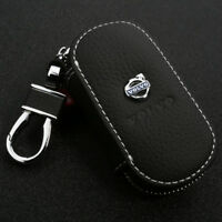 Leather Car logo Key Chain Case Remote Control Auto Keyfob wallet bag for volvo