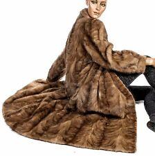 XL Awesome soft honey caramel brown mink fur coat mantle patterned fur pieces