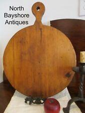 Antique 1800s New England Circular Lollipop Handle Pine Bread Pie Board aafa