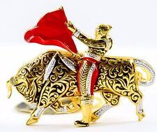 Vintage Spanish Bullfighter Brooch Gold Damascene bullfighter brooch