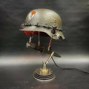 WW2 militaria Allemand Casque Relique Lampe Militaire german WWII Baïonnette
