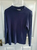 EXPRESS TRICOT WOMENS BLUE TOP SIZE 10 MEDIUM RIBBED LONG SLEEVE PIT TO PIT 18