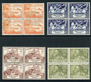 Turks & Caicos 1949 KGVI UPU complete set in VFU blocks. SG 217-220. Sc 101-104.
