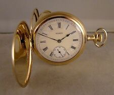 111 YEARS OLD ELGIN 14k GOLD FILLED HUNTER CASE FANCY DIAL 16s  POCKET WATCH
