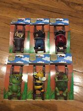 Flower Pot Hugger Figurine lot of 6 set bee, frog, turtle, bear, ladybug, owl